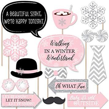 Pink Winter Wonderland Photo Booth Props
