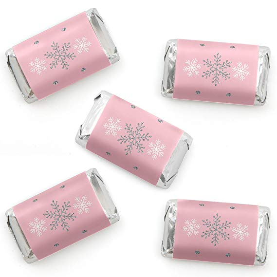 Pink Winter Wonderland Mini Candy Bar Wrappers