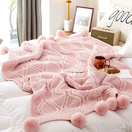 Chenille Plush Throw Blanket with Pom Poms