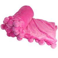 Fuschia Pom Pom Throw Blankets
