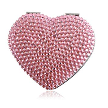 Heart Pink Bling Crystal Compact Mirror