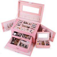 Large Pink Jewelry Box Case Organization