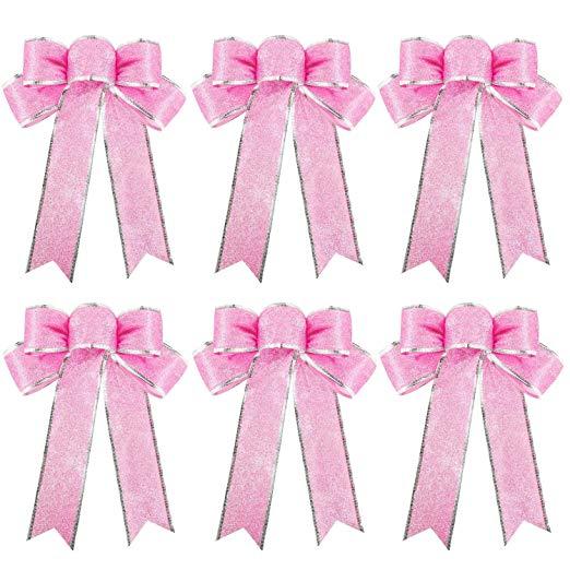 Pink Glitter Christmas Ribbon Bows