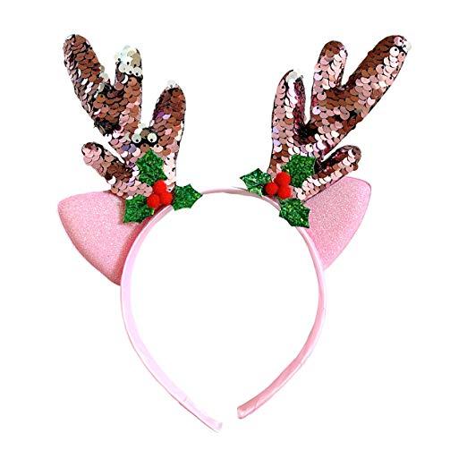 Sparkly Reindeer Antlers and Ears Headband
