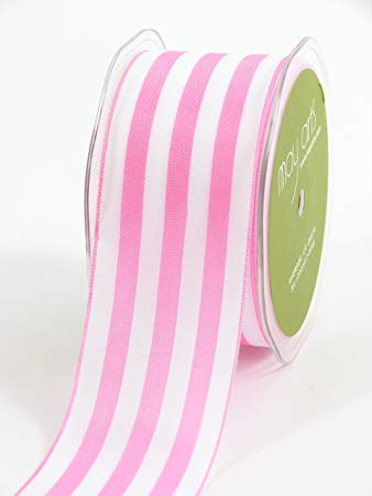 Pink and White Stripe Wide Ribbon