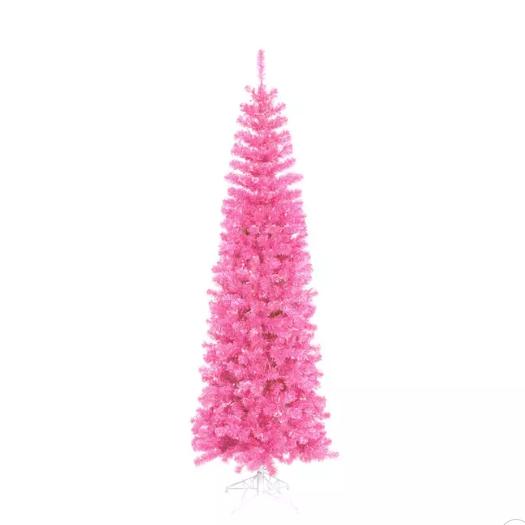 9' Prelit Pink Pencil Christmas Tree