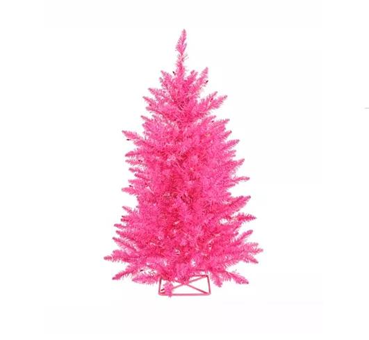 Mini Hot Pink Artificial Christmas Tree