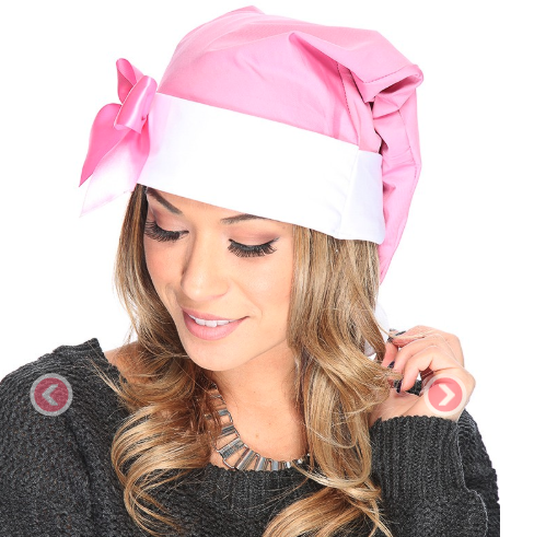 Pink White Cute Bow Accent Santa Hat