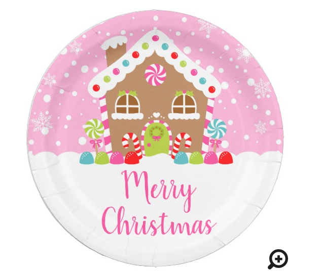 Pink Gingerbread Paper Plates