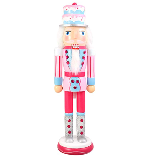 Pink Nutcracker Christmas Figure with Cake Hat