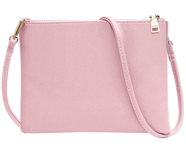 Small Pink Wallet with Detachable Strap