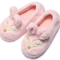 Pink Fox Furry House Slippers