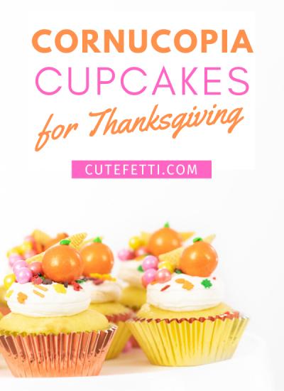 Cornucopia cupcakes for Thanksgiving