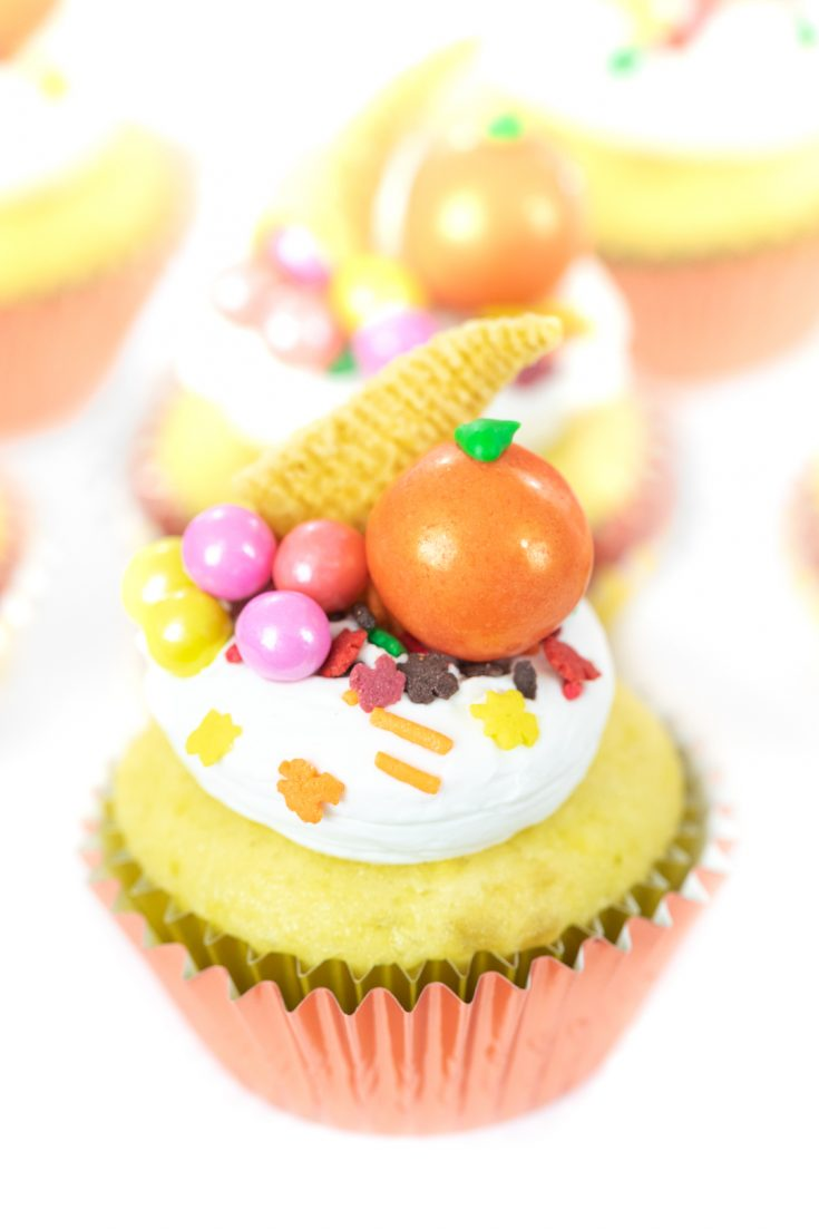Cornucopia Cupcakes for Thanksgiving