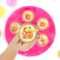 Cute cornucopia cupcakes made with shimmer candies.