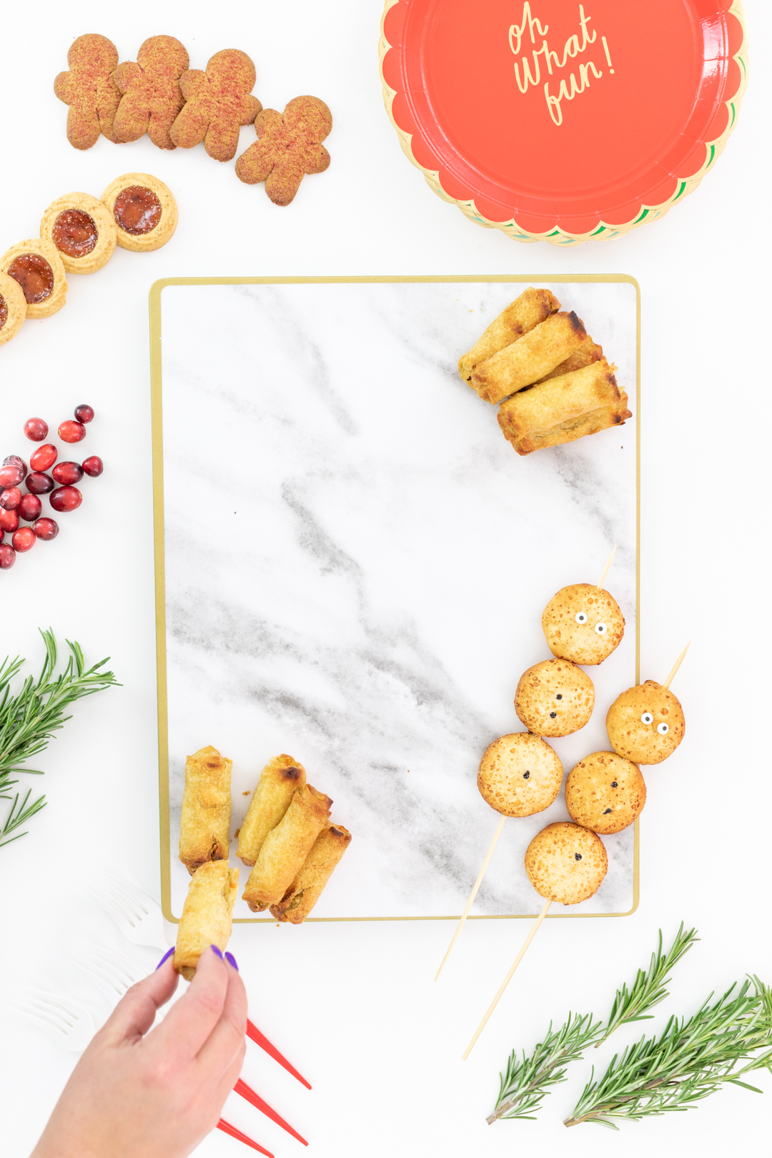 setting up a savory holiday snack board