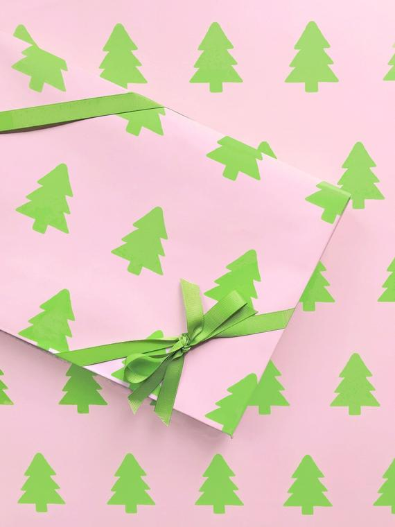 Pink and Green Christmas Tree Wrapping Paper