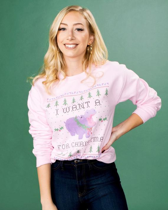 I Want A Hippo For Christmas Pink Sweatshirt