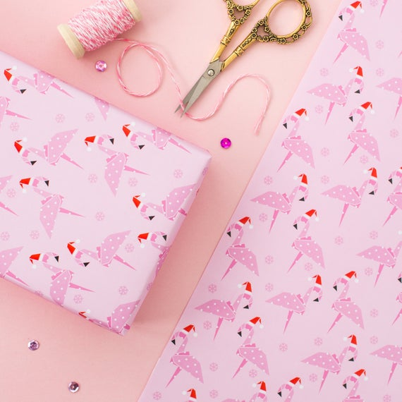 Pink Flamingo Christmas Wrapping Paper