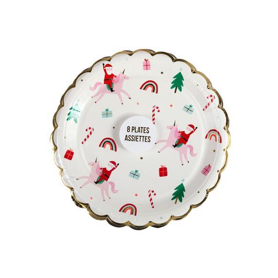 Small Santa and Unicorn Scalloped Plates