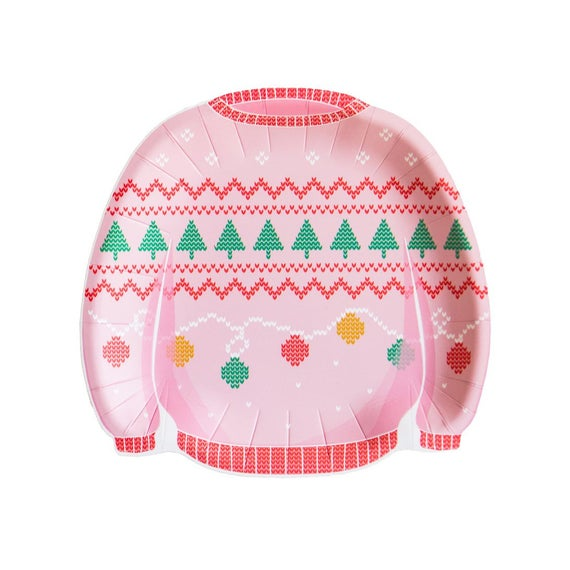 Ugly Holiday Sweater Pink Plates