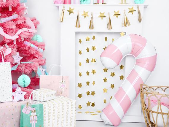 Pink Candy Cane Balloon
