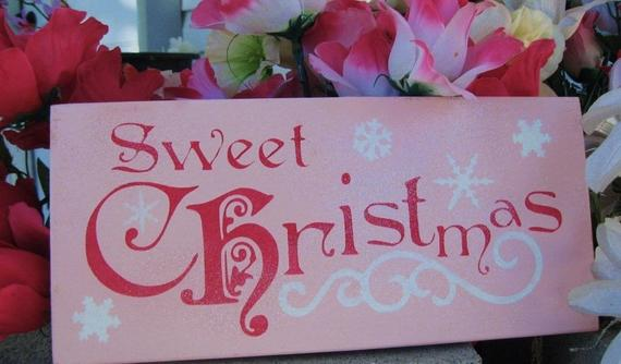 Sweet Pink Christmas Sign