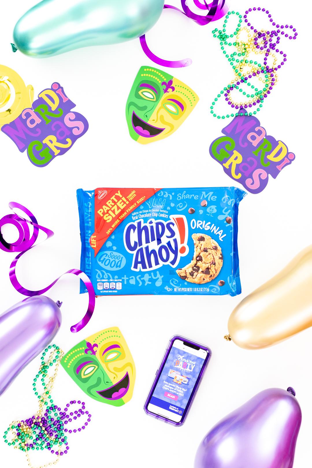 Metallic Mardi Gras Balloons and party supplies