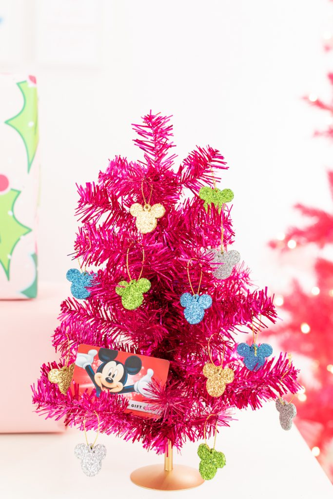 Mini Pink Disney Christmas Tree with mini glitter mickey ornaments.