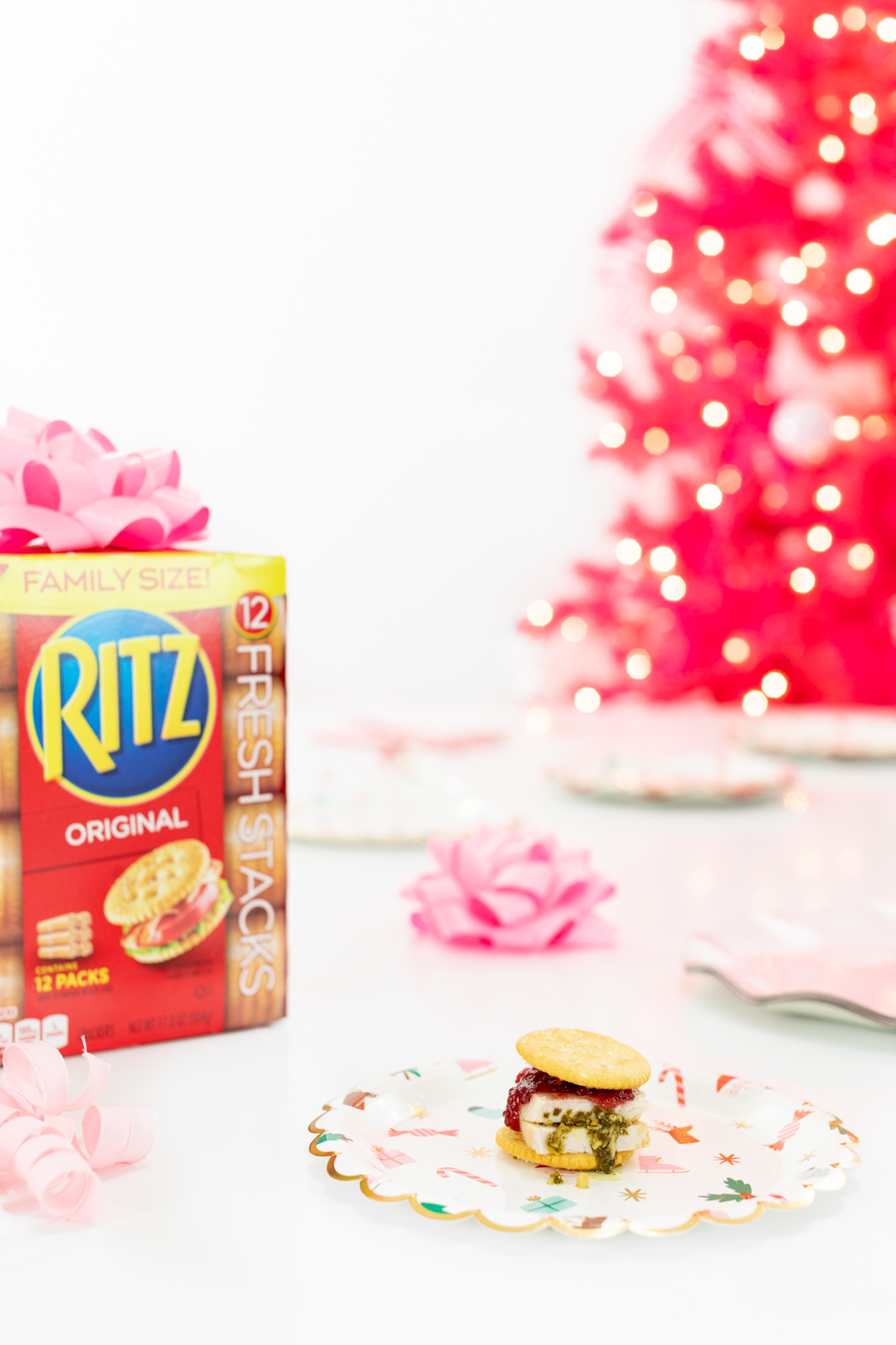 Ritz Cracker Box and Pink Christmas Tree
