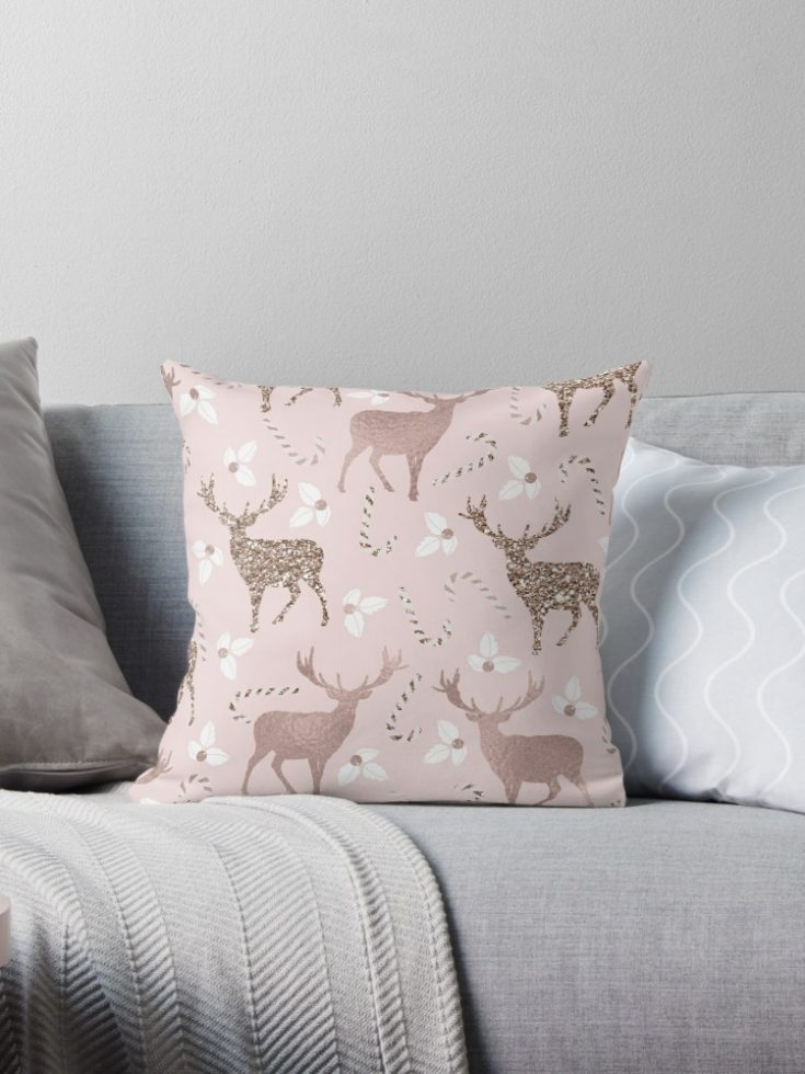 Blushing Reindeer Throw Pillow