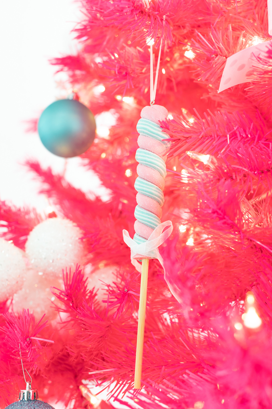 pink peppermint candy ornament