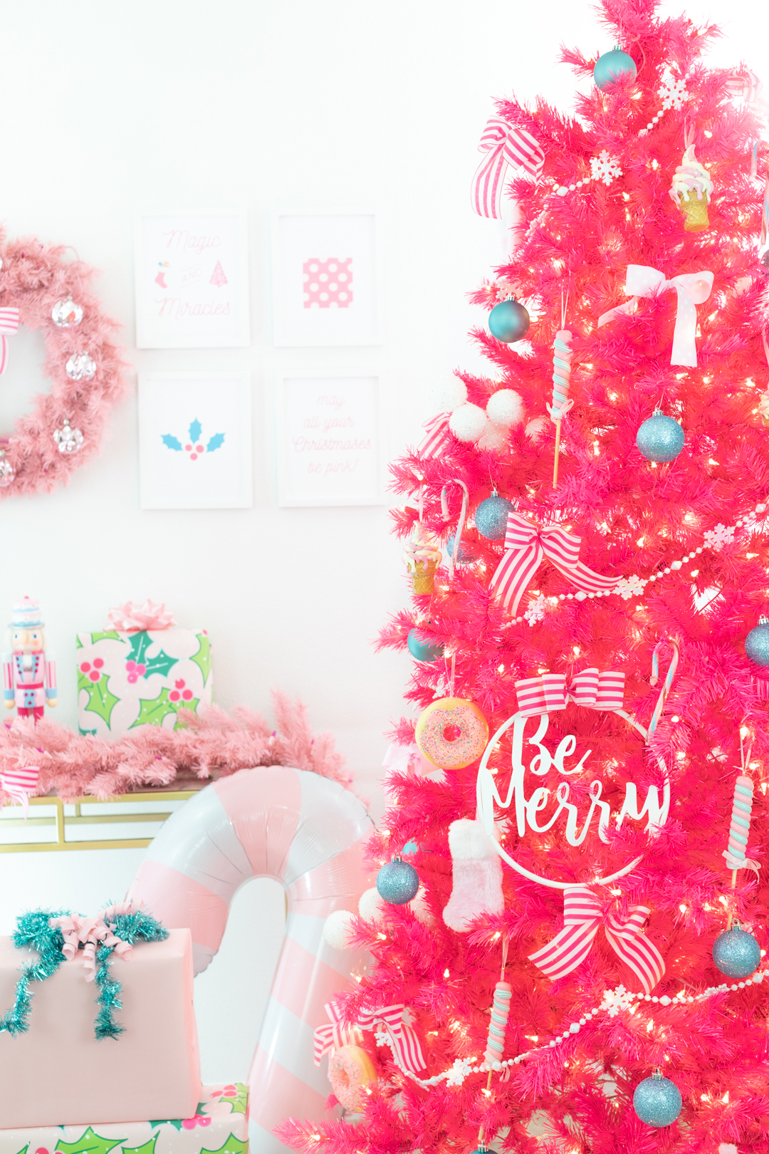 hot pink christmas tree with whimsical decor