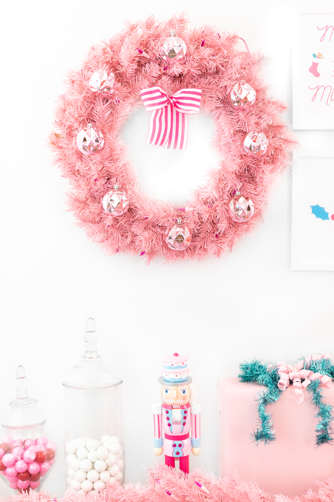 light pink prelit wreath with decorations