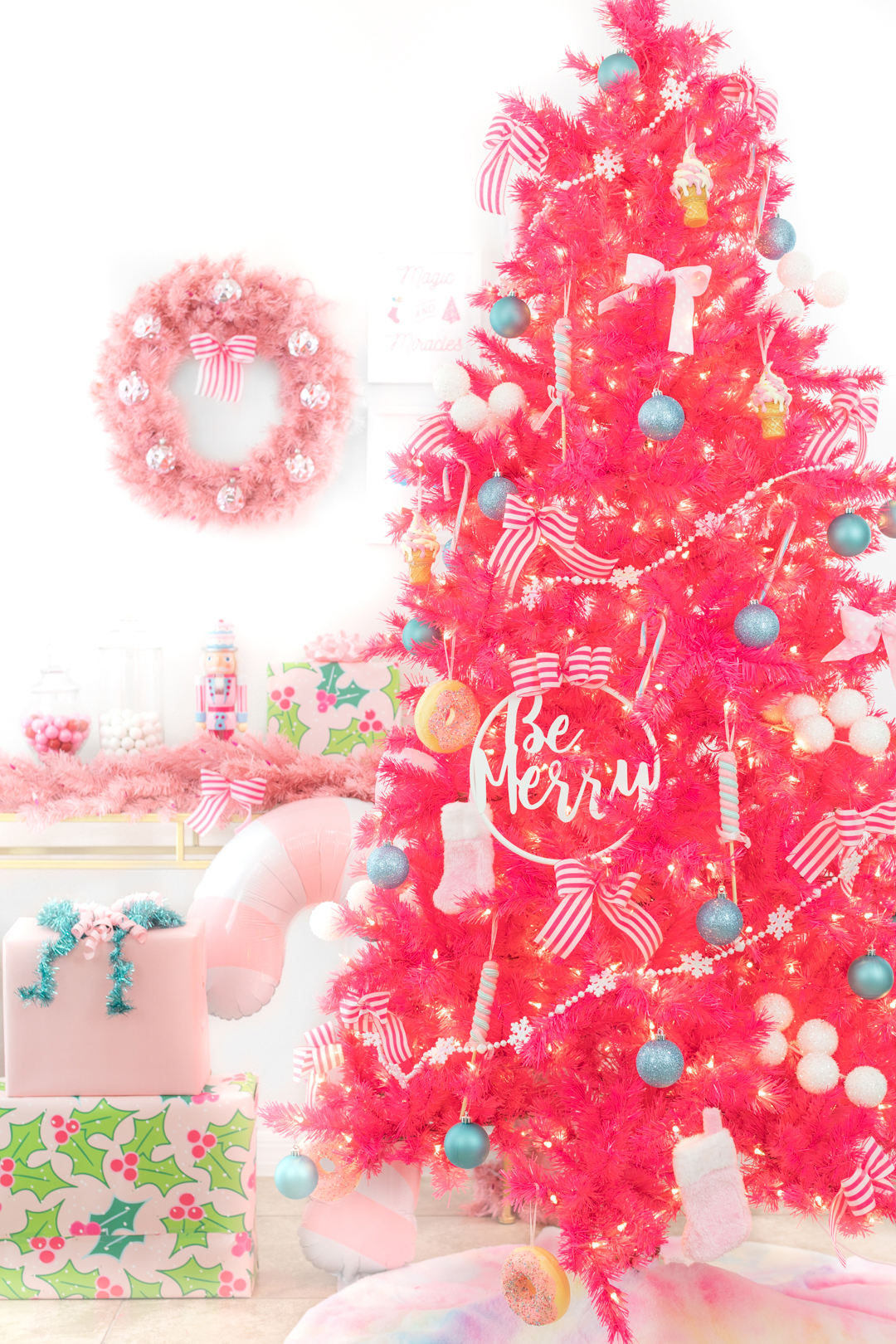 pink christmas tree and decorations