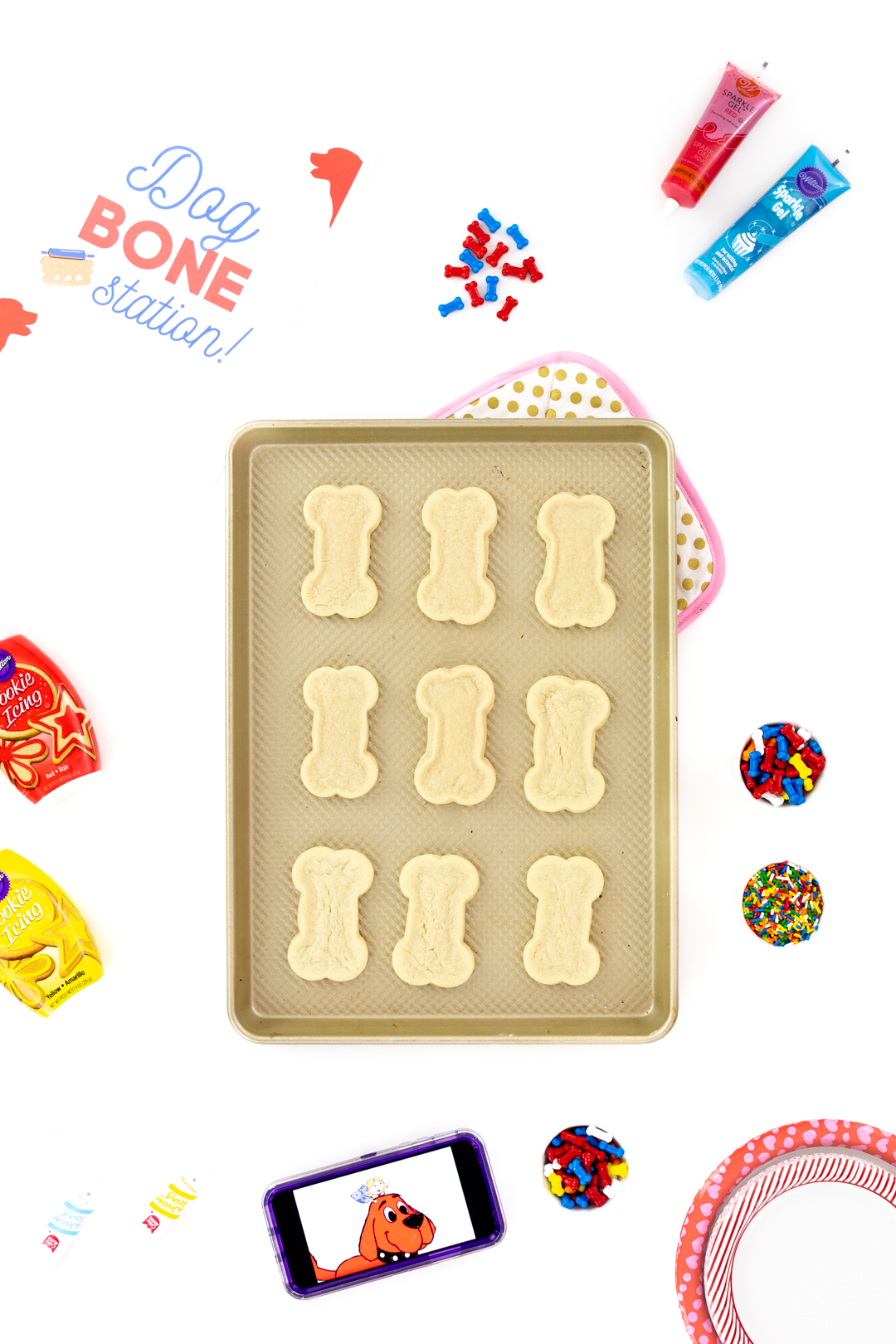 tray of dog bone cookies