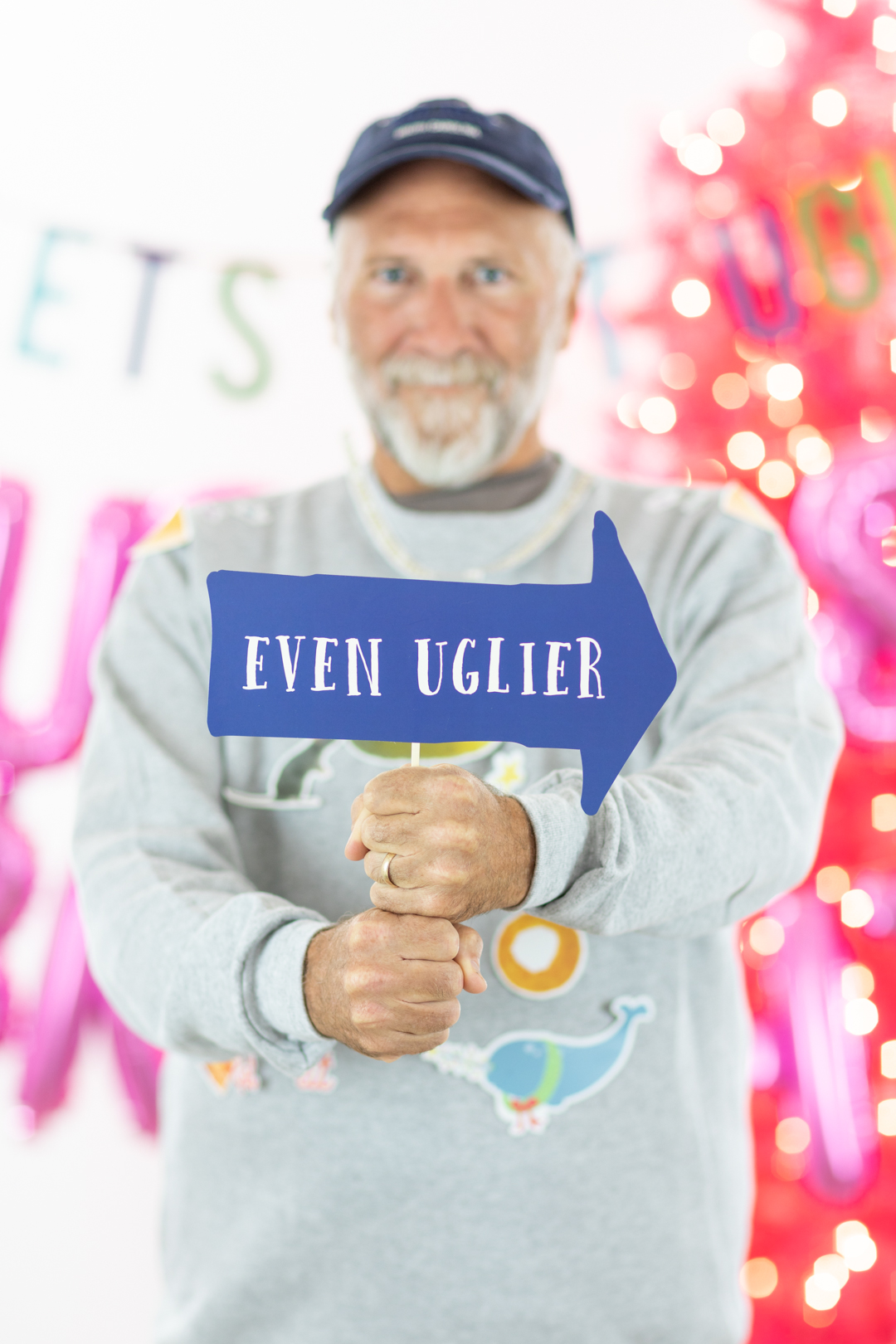 even uglier - ugly sweater photo prop sign