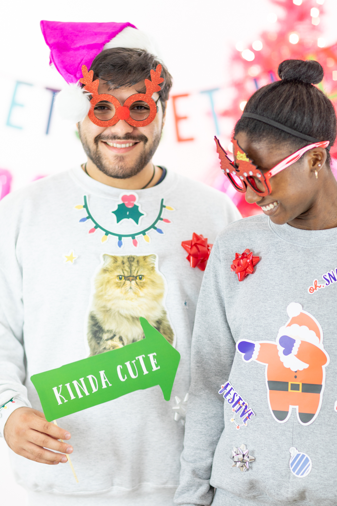 kinda cute - ugly sweater photo prop sign