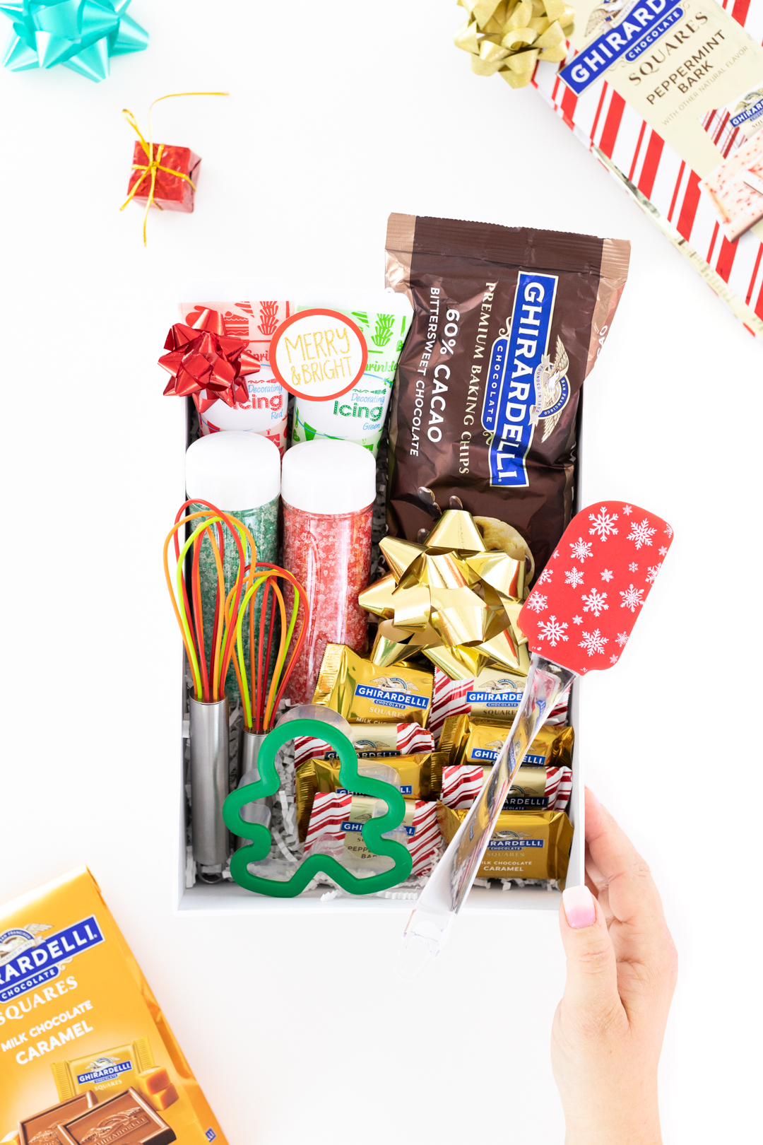 Chocolate Baking Gift Box with chocolate chips, sprinkles, icings, spatula and whisks.