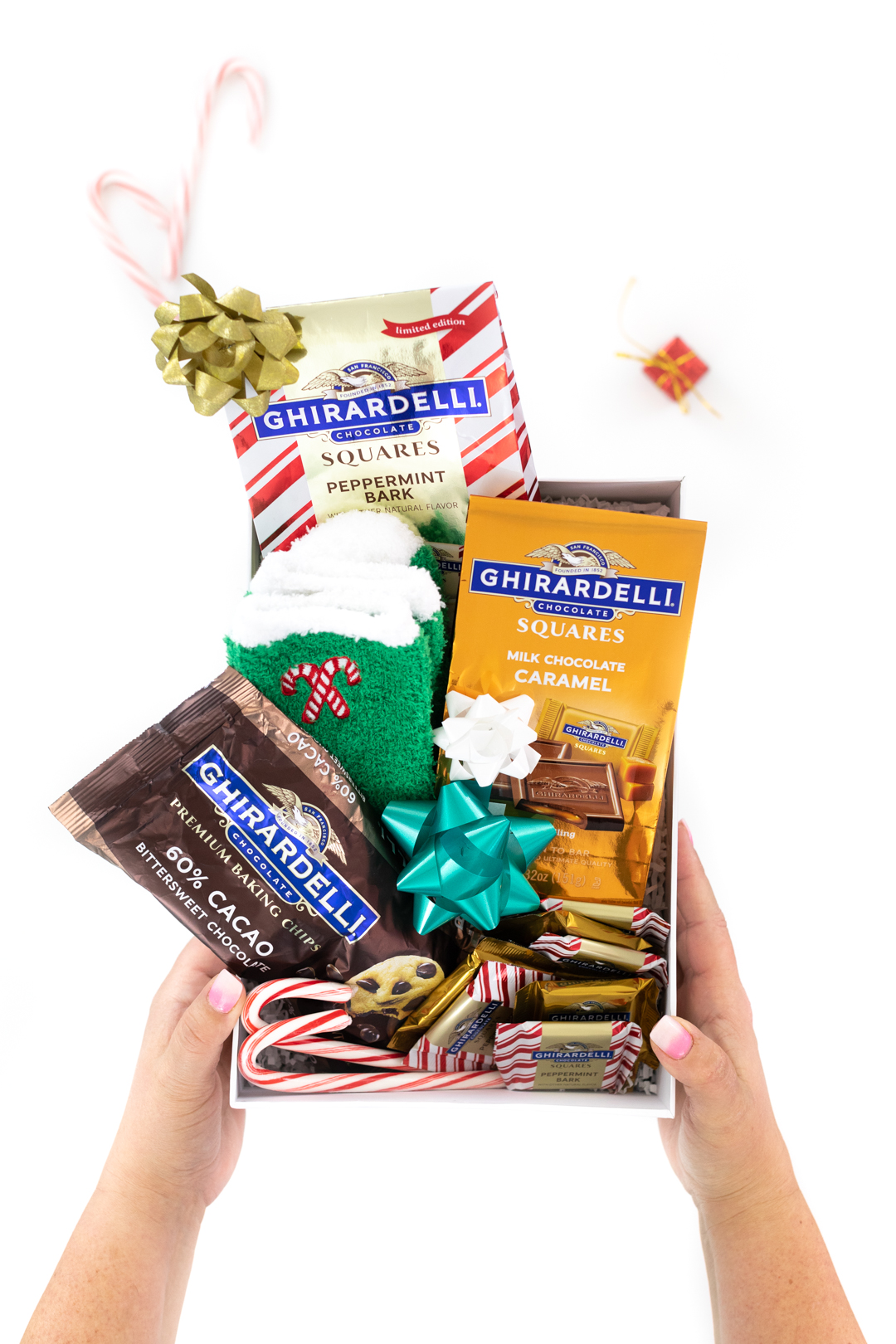 DIY gift box for chocolate lovers filled with Ghirardelli chocolates and more