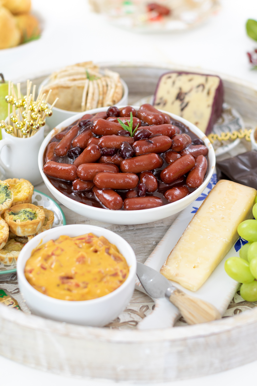 scrumptious hearty tray of appetizers