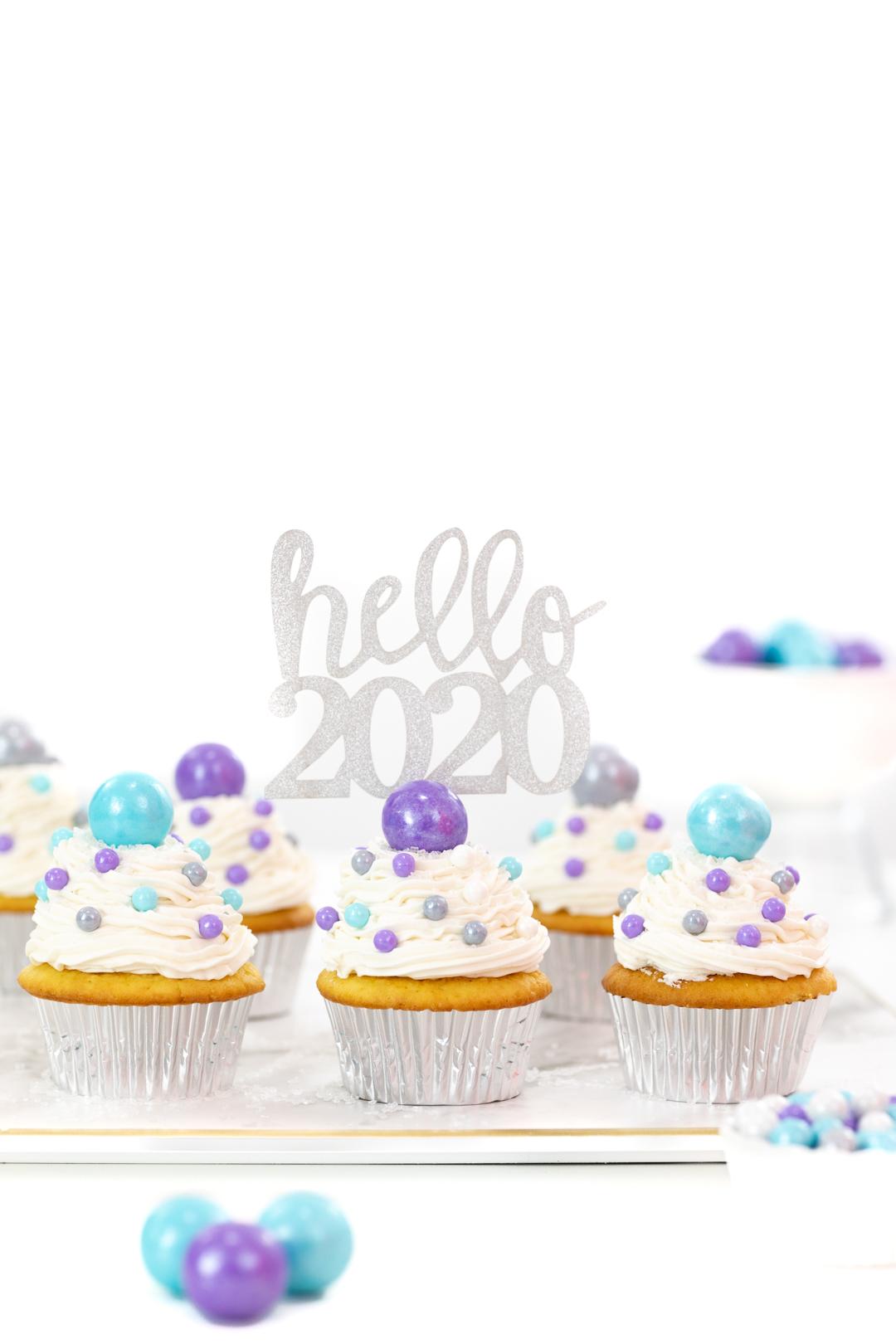 hello 2020 cupcake topper. pretty silver glitter design.