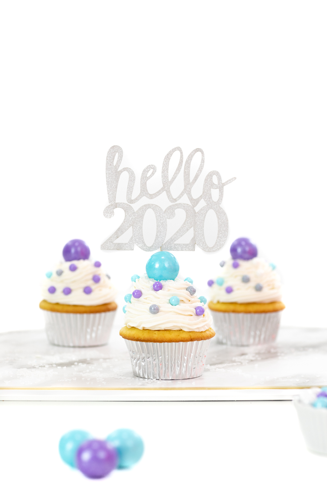 gumball cupcakes for new year's day or new year's eve.