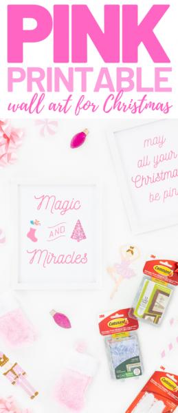 pink Christmas wall art prints