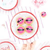 pink santa cookies