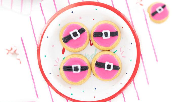 Pink Santa Belt Cookies