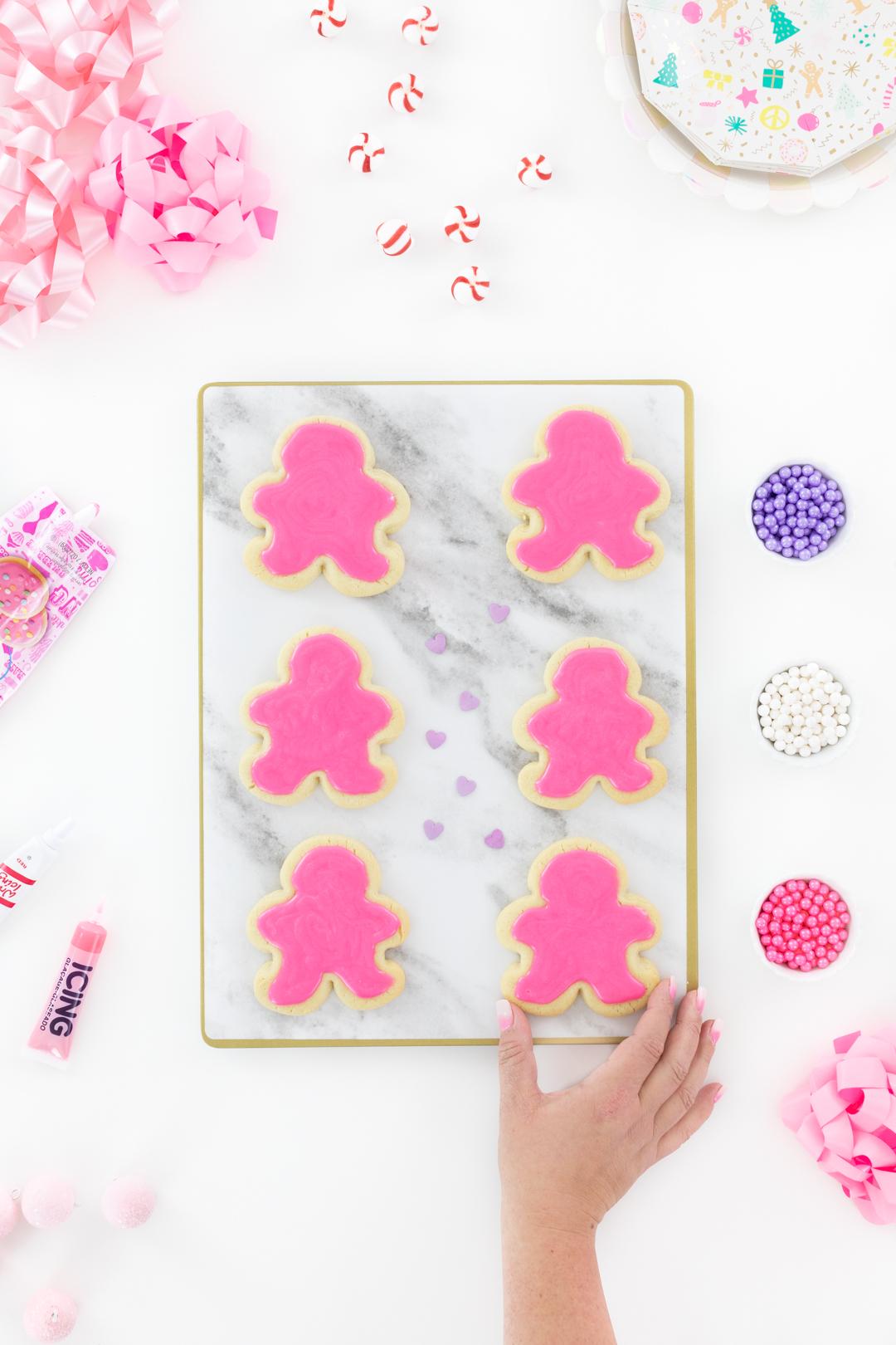 pink iced sugar cookies