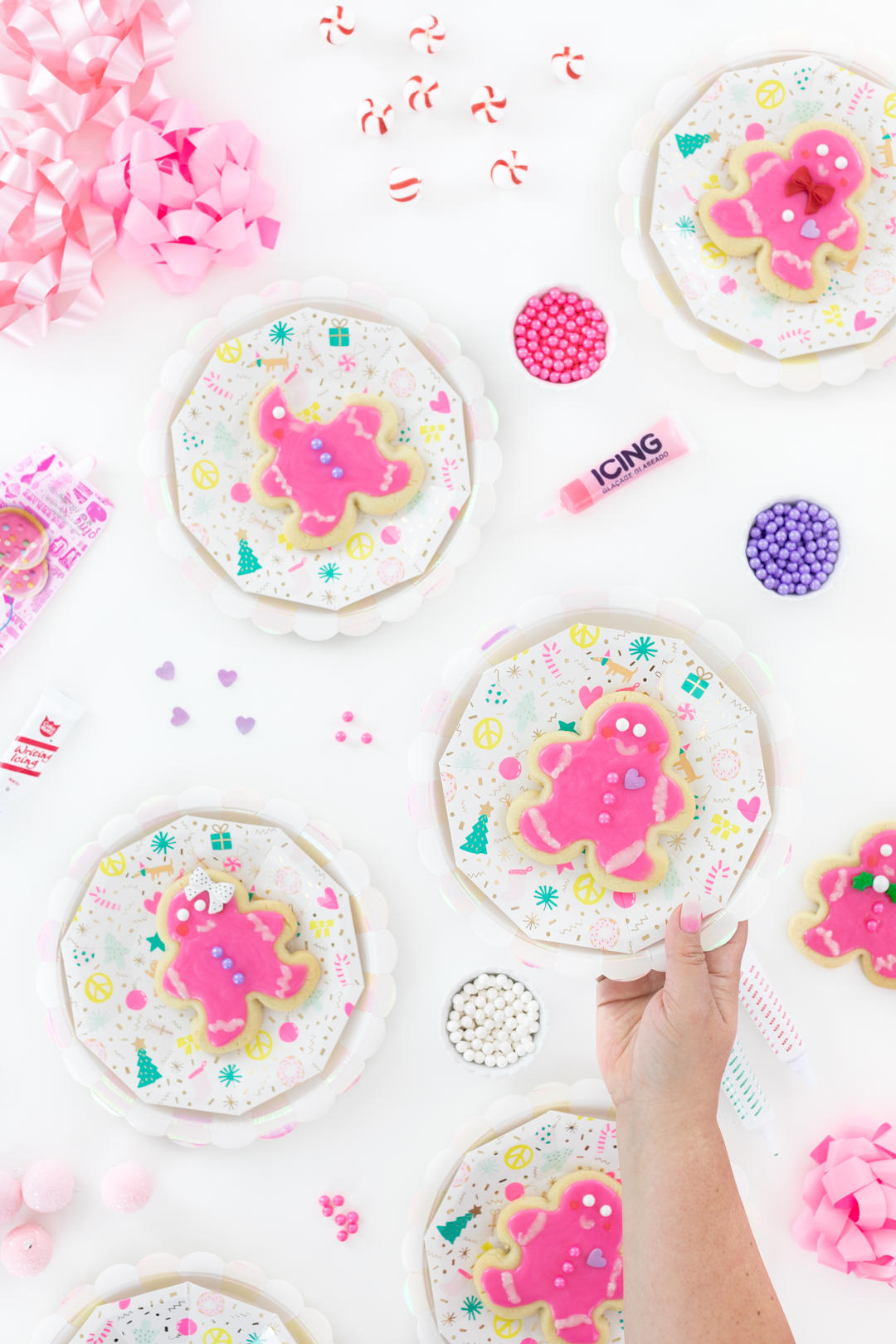 cute pink christmas party cookies