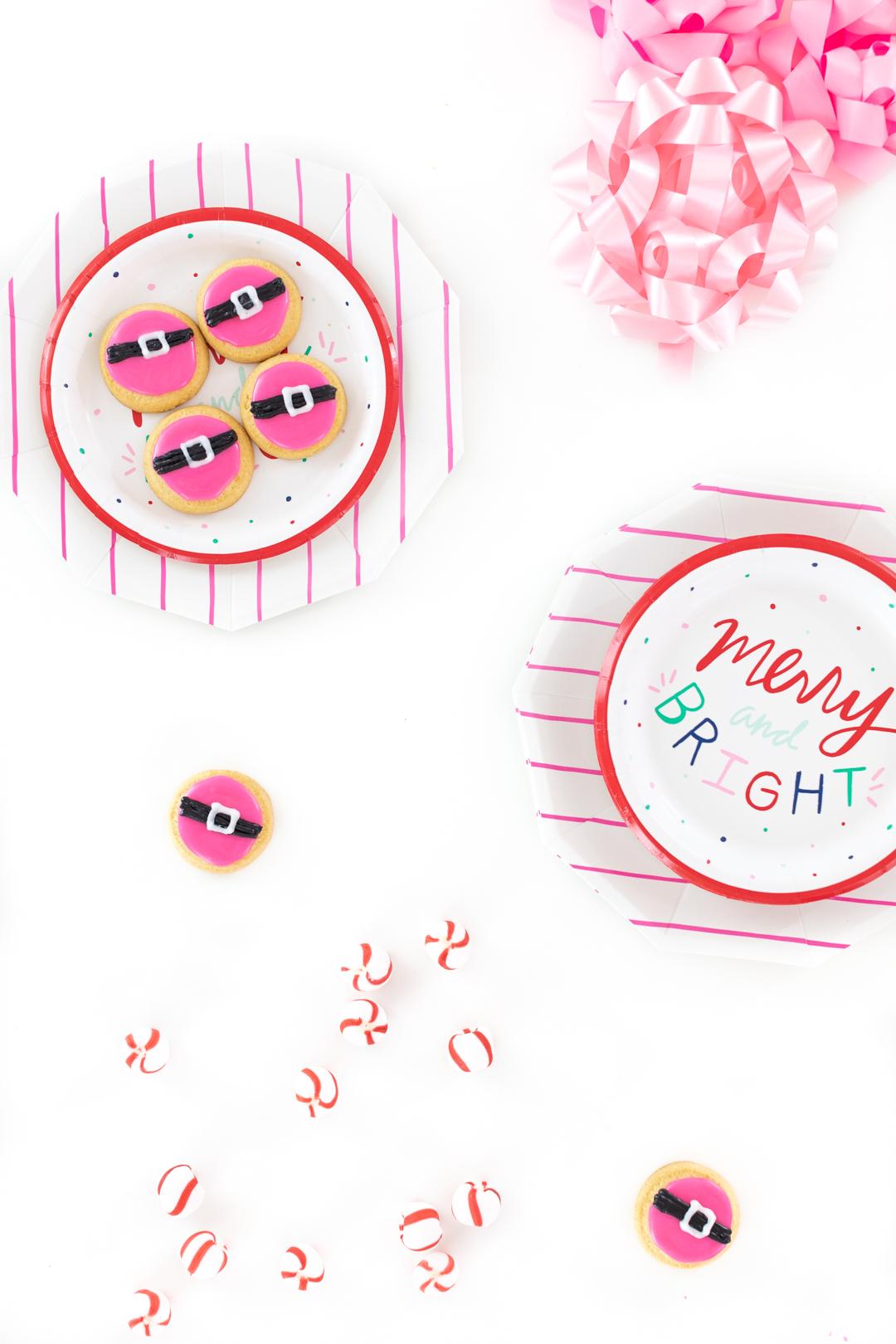 cute pink santa belt cookies