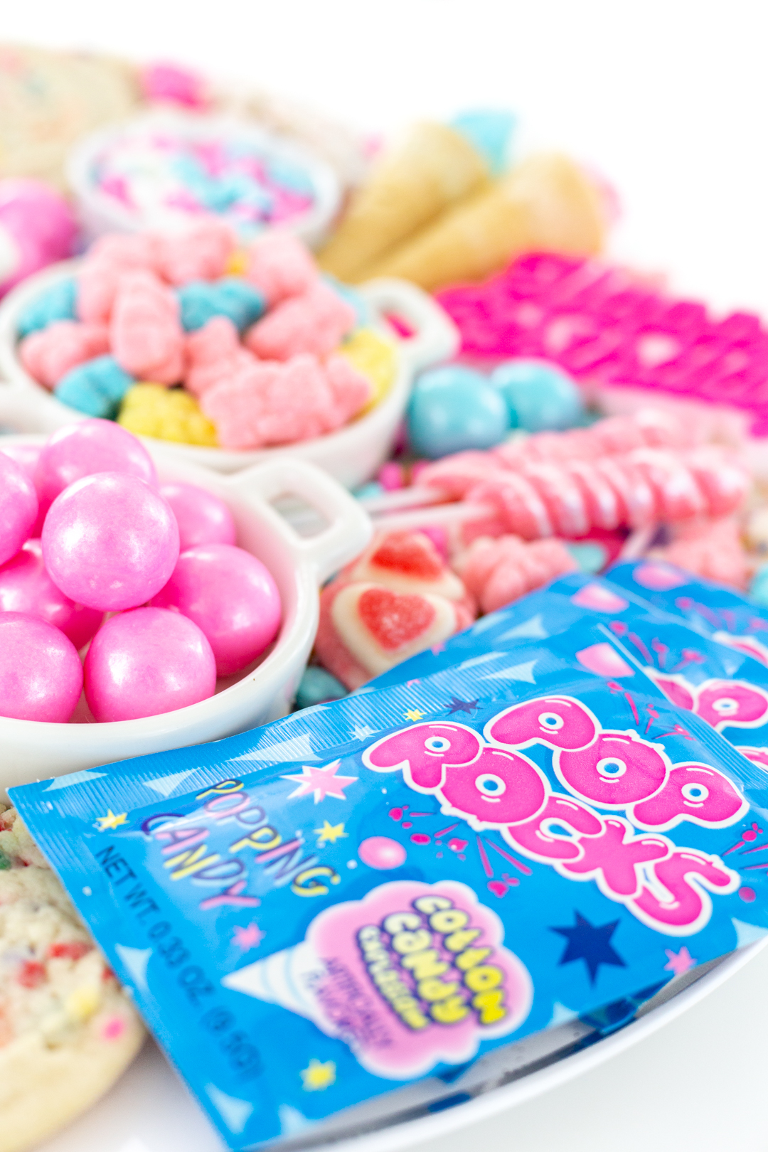 Pop Rocks and other pink and blue themed candies and treats.